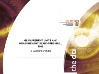 MEASUREMENT UNITS AND MEASUREMENT STANDARDS BILL, 2006 6 September 2006