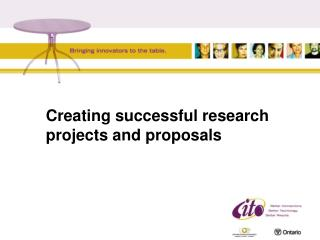 Creating successful research projects and proposals