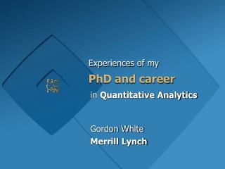 PhD and career