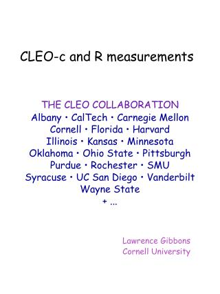 CLEO-c and R measurements