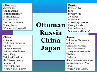 Ottoman Russia China Japan