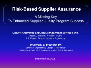 Risk-Based Supplier Assurance A Missing Key To Enhanced Supplier Quality Program Success
