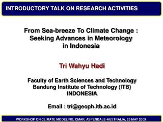 INTRODUCTORY TALK ON RESEARCH ACTIVITIES