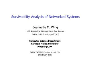 Survivability Analysis of Networked Systems