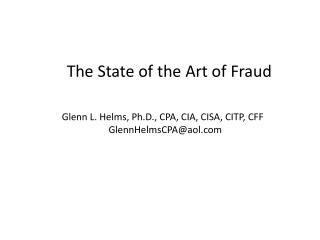 The State of the Art of Fraud