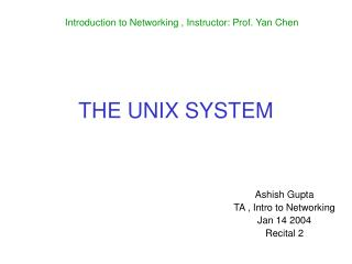 THE UNIX SYSTEM
