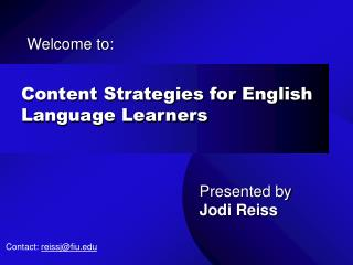 Content Strategies for English Language Learners