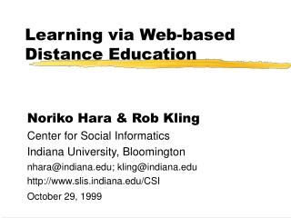 Learning via Web-based Distance Education
