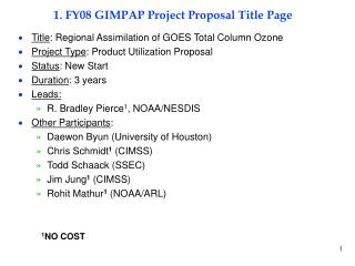 1. FY08 GIMPAP Project Proposal Title Page