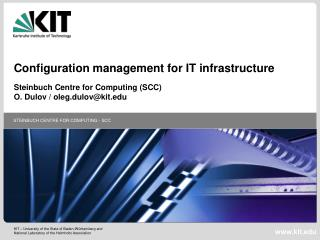 Configuration management for IT infrastructure