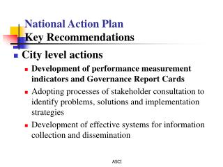 National Action Plan Key Recommendations