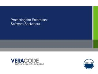 Protecting the Enterprise: Software Backdoors
