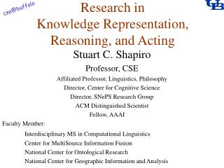 Research in Knowledge Representation, Reasoning, and Acting