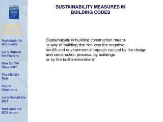 SUSTAINABILITY MEASURES IN  BUILDING CODES