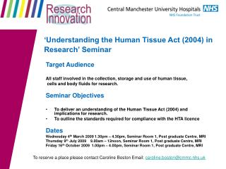 'Understanding the Human Tissue Act (2004) in Research' Seminar