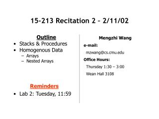 15-213 Recitation 2 – 2/11/02