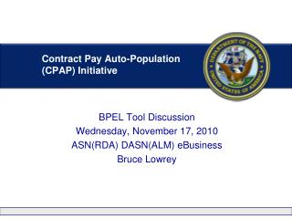 Contract Pay Auto-Population (CPAP) Initiative