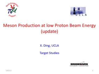 Meson Production at low Proton Beam Energy (update)