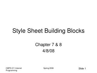 Style Sheet Building Blocks