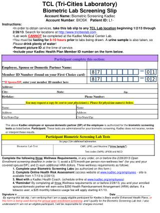 TCL (Tri-Cities Laboratory) Biometric Lab Screening Slip Account Name:  Biometric Screening Kadlec