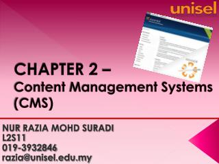 CHAPTER 2 –  Content Management Systems (CMS)