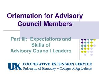 Orientation for Advisory Council Members