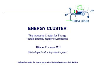 ENERGY CLUSTER The Industrial Cluster for Energy established by Regione Lombardia