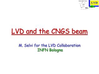 LVD and the CNGS beam M. Selvi for the LVD Collaboration  INFN Bologna