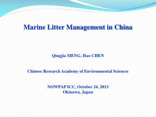 Marine Litter Management in China Qingjia  MENG,  Hao  CHEN