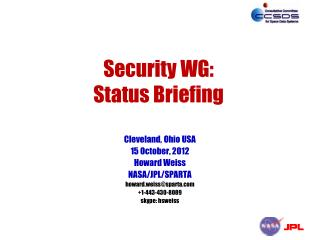Security WG: Status Briefing