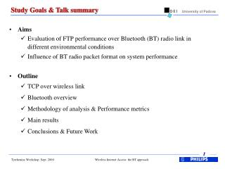 Study Goals & Talk summary
