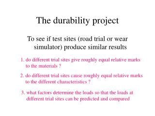 The durability project