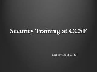 Security Training at CCSF
