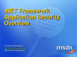 .NET Framework Application Security Overview
