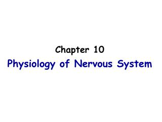 Chapter 10 Physiology of Nervous System