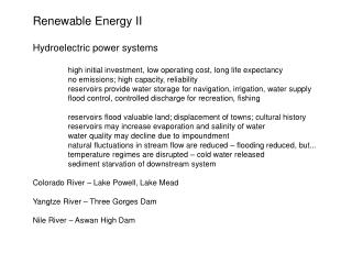 Renewable Energy II Hydroelectric power systems