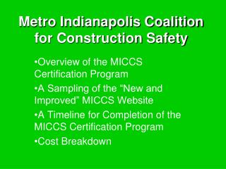 Metro Indianapolis Coalition for Construction Safety