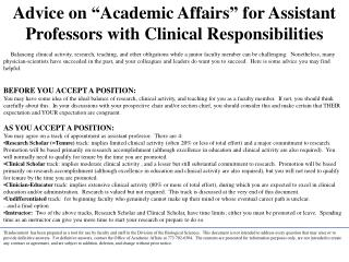 "Advice on ""Academic Affairs"" for Assistant Professors with Clinical Responsibilities"