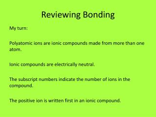 Reviewing Bonding