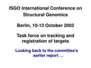 ISGO International Conference on Structural Genomics