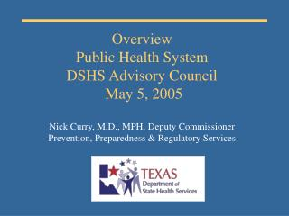 I. PUBLIC HEALTH OVERVIEW