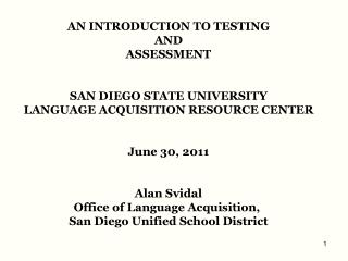 AN INTRODUCTION TO TESTING  AND  ASSESSMENT SAN DIEGO STATE UNIVERSITY