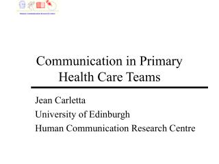 Communication in Primary Health Care Teams