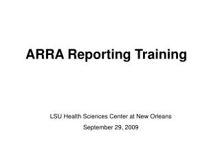 ARRA Reporting Training