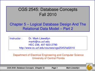 CGS 2545: Database Concepts Fall 2010