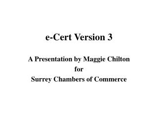 e-Cert Version 3