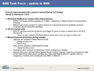 RMS Task Force – update to RMS