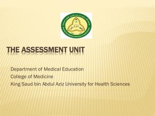 THE ASSESSMENT UNIT