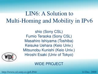 LIN6: A Solution to Multi-Homing and Mobility in IPv6
