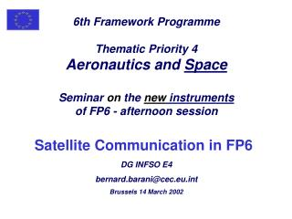 6th Framework Programme Thematic Priority 4 Aeronautics and Space